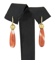 Yellow gold earrings with natural Pacific coral and fish hooks