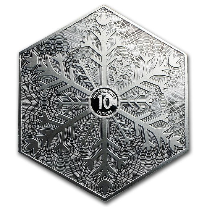 Usa 10 Oz 999 Silver Silver Snowflake Hexagon Bars