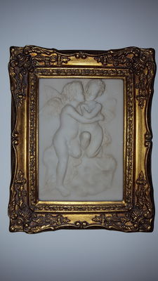 Alabaster relief in frame, mid 20th century