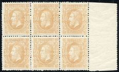 Belgium 1869 - Leopold II 30 centimes in block of 6 - OBP33