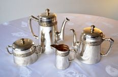 Tea and Coffee Service - silver plated metal, hallmarked AC 85 or 44, 1930s style, France