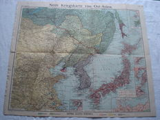 """German Empire; Old original map """"New war map of East Asia"""" Russian-Japanese war 1904/1905 with the distribution of the Russian and Japanese troops and with marked war ports"""
