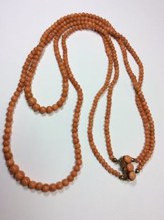 Double row coral necklace