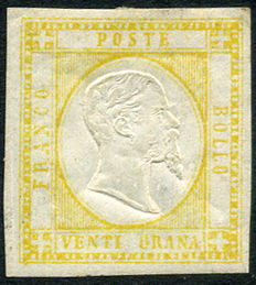 Kingdom of Naples, 1861 – Neapolitan provinces – 20 Grana stamp – Yellow – Sassone #23.