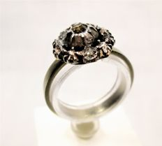 White gold ring with European diamond cut