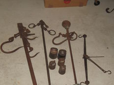 3 Antique wrought iron Unsters -1Anique wrought iron scale - 5 iron weights