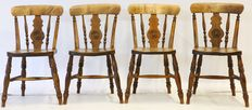 Four walnut kitchen chairs - ca. 1900