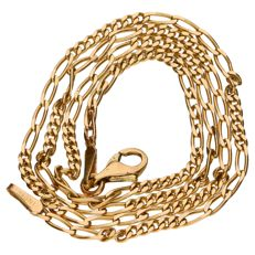 Yellow gold figaro link necklace of 14 kt – 39 cm