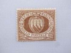 San Marino, 1877, 1. Aug. Freimarke, Michel no. 4, vermilion 30 C brown