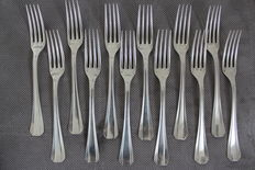Lot of 12 forks, Boréal model, Christofle, Paris, France, 1930