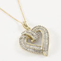 Estate 10kt Yellow Gold Heart Pendant  Necklace set With Diamonds