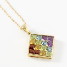 Estate 10kt Yellow Gold  Necklace set With Garnet, Amethyst, Citrine, Blue Topaz and Peridot