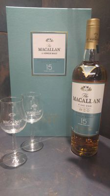 Macallan 15 Year Old Fine Oak Gift Set with 2 Macallan Branded whisky glasses