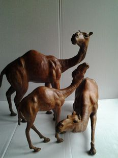 3 large leather camels