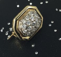 Broche en Or jaune 18K et Diamants, 0,40 ct. VS1, couleur G
