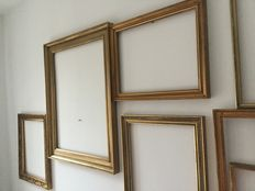 Six French hand-gilded wooden picture frames