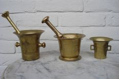 3 brass mortars -Holland-18th and 19th century