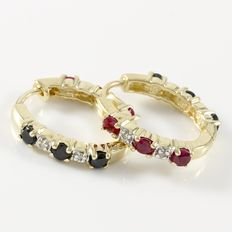 Estate 10kt  Yellow Gold Earrings Set  With Diamonds,  Rubies and Sapphires