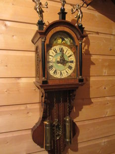 Frisian grandfather clock with moon phase - Wuba Warmink - approx. 1970