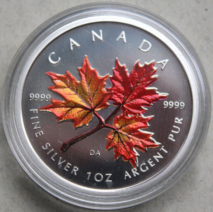 "Canada - 5 Dollar 2001 ""Maple Leaf- Herbst"" Farbapplikation - 1oz - Silver"