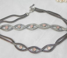 Necklace and bracelet - silver with rose quartz, genuine, natural, hallmarked 935