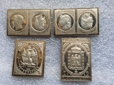 """France - """"The greatest stamps of France"""" plate, 1981 (lot of 4) - silver"""