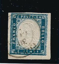Italy, Sardinia, 1855-63 – 20 cent. greenish-cobalt colour stamp. Sassone catalogue #15 Dg.