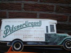 Truck advertisement of Pilsner and Urquell.
