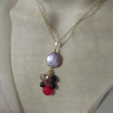 Gold necklace and cluster pendant with large pearl, amethyst, mystic topaz and chalcedony