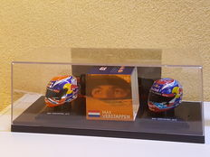 Max Verstappen - 2 x 1:5 Helmets 2016 released as a Limited Edition of 1,000 pieces in beautiful showcase display case - with original signed photo + COA