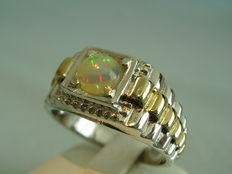 Solid silver opal ring with natural full opal