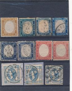 Italy 1862/1863 Selection of stamps on a small stock card.