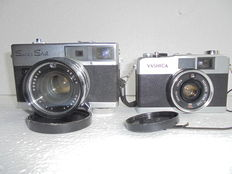 A lot of 2 cameras, one Yashica 35 ME and a Ricoh Super Shot camera.