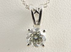 White gold solitaire pendant with 1 brilliant cut diamond of 0.45 ct with gold necklace ***no reserve price***
