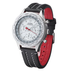 DETOMASO Firenze Mens Watch Chronograph Stainless Steel Silver Leather Strap 10 ATM New