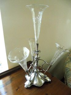 Antique English Silver Plated Epergne Planter with 4 glass cones by James Deakin, Sheffield, Around 1920