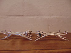 6 Silver-plated dog shaped/ greyhound shaped knife rests