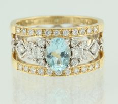 14 kt bicolour gold ring set with 0.85 ct topaz and 34 brilliant cut 0.50 ct diamonds, ring size 17 (53)