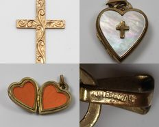 Lot of 2 Rolled Gold Jewellery Items - Cross Pendant & Heart Shaped Picture Locket