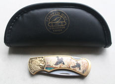 "Franklin Mint - collector Pocket knife ""Stockente"" (mallard) - gold plated"