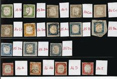 Italy, Sardinia 1855-63 – Selection of 17 stamps from the 4th issue.