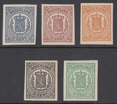 The Netherlands 1869 – National coat of arms, proofs – PC77b, g, h, j and k
