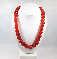 Natural carnelian necklace with silver clasp.