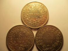 France – 5 francs 1849-A, 1852-A and 10 Francs 1972 (lot of 3 coins) - silver