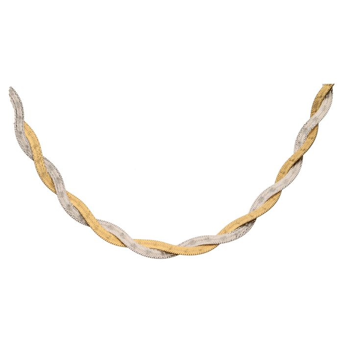 Bi-colour braided necklace in 14 kt – 49 cm