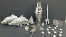 Fantastic collection of kitchen collectibles and supports in Silver Plate