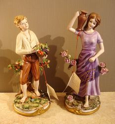 Capodimonte-porcelain couple, signed Dalla Costa