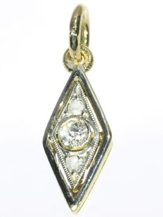 Gold pendant with diamonds - circa 1930