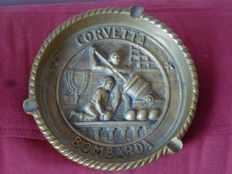 Italian Navy history-a plaque ashtray, a gift in recognition of the Commander Ermete Boido from the Officials of the Corvetta Bombarda, Antisubmarine Unit in the period of World War II
