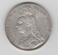 Great Britain - Crown 1889 Queen Victoria - silver